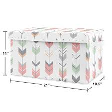 Amazon Com Sweet Jojo Designs Coral Mint And Grey Woodland Arrow Girl Baby Nursery Or Kids Room Small Fabric Toy Bin Storage Box Chest For Woodsy Collection Baby