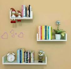 Kids Bedroom Wall Shelves 3 White Display Shelving Unit Set Decoration Bookcase Ebay