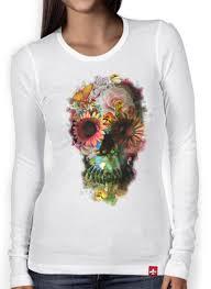 women long sleeve t shirt skull flowers