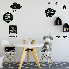 Scandinavian Decals Black White Sleepy Eyes Clouds Stars Stickers