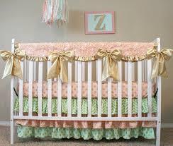 glam baby girl crib set in blush pink