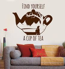 Vinyl Wall Decal Cup Of Tea Inspiration Quote Oriental Teapot Stickers Wallstickers4you