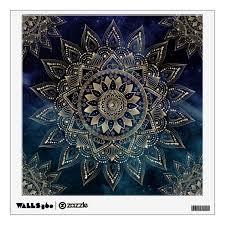 Elegant Gold Mandala Blue Galaxy Design Wall Decal Zazzle Com