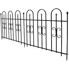 Sunnydaze Decor 38 In X 49 In Per Panel 8 Ft Overall Metal Decorative Finial Garden Landscape Border Fence In Black 2 Piece Hmi 795 The Home Depot