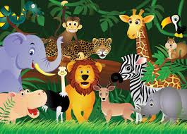 Kids Wallpaper Wild Animals Jungle Wall Mural For Childrens Room Nursery For Sale Online