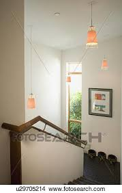 stock photo of pendant lights above