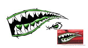 17 28 Free Shipping Shark Mouth Sharp Teeth Side Car Decoration Decal Sticker Green At M Fasttech Com Fasttech Mobile