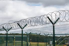 Security Fence With A Barbed Wire Stock Image Colourbox