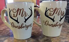 Personalized Mr And Mrs Tumbler Decals With Antlers Vinyl Stickers For Mugs
