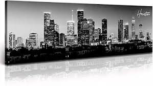 Amazon Com Djsylife Houston Skyline Canvas Wall Art Decor Black White City Pictures Painting Texas Cityscape Photo Print Artwork For Office Bedroom Living Room Walls Decoration Ready To Hang 13 8 X47 3 Posters