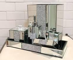 6pc bella lux mirror crystal rhinestone