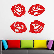 Diy Red Lips Decal With Quotes Love You Kiss Me Window Decal Red Lips Vinyl Sticker Kissing Wall Mural Wallpaper 3070 Wall Stickers Aliexpress