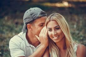 loving couple flirting outdoors love