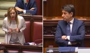 Intervento di Giorgia Meloni contro Giuseppe Conte: 'Lei lavora ...