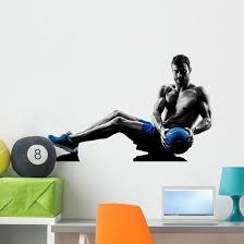 Man Exercising Fitness Weights Exercises Silhouette Wall Decal Wallmonkeys Com