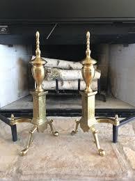 brass fireplace andirons ornate