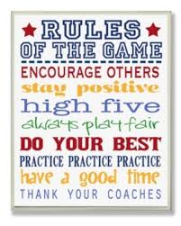 New Deal For Stupell Industries The Kids Room Rules Of The Game Blue And Red Typography Wall Plaque Art 12 5 X 18 5