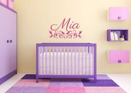 Amazon Com Vinyl Sticker Mia Name Girl Floral Font Type Kids Room Nursery Mural Decal Wall Art Decor Eh667 Handmade