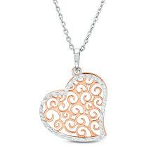 tilted filigree heart pendant in