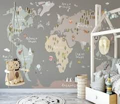Kids Colorful World Map With Animals Wallpaper Mural In 2020 Kids Room Murals Animal Bedroom Kid Room Decor