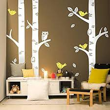 250250cm Cute Owl Birds Large Birch Tree Wall Stickers For Kids Room Wallpaper Mural Baby Nursery Wall Decals Tattoo Forest Home Background Decoration D639 250cm Tall