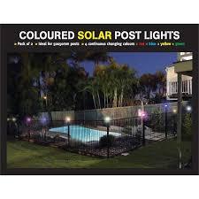 Protector Aluminium Fence Post Coloured Solar Light 2 Pack