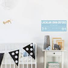 Baby Birth Announcement Details Sign Fabric Wall Decal A Creative Hart