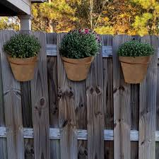 Mpg Medium Composite Fence Pots Plain For Shadow Box Fences In A Dark Terracotta Finish Set Of 3 Pc8145dtc The Home Depot Shadow Box Fence Shadow Box Fence