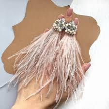 ostrich feather earrings gray and pink