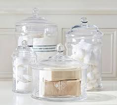 classic glass bath canisters pottery barn