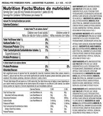 pedialyte nutrition facts label best