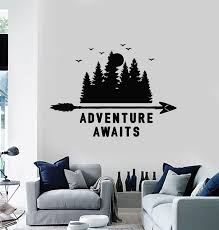 Vinyl Wall Decal Motivation Phrase Adventure Awaits Travel Nature Tree Wallstickers4you