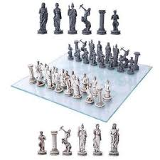 greek mythology chess set s glass
