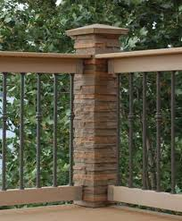 Dress Up Deck Railings By Adding Faux Stone Post Cover And Cap Backyard Outdoor Living Outdoor