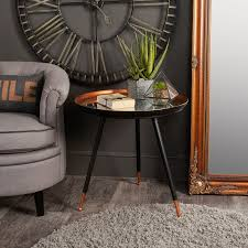 copper black mirrored side table