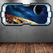 Full Colour Space Planet Window Galaxy Stars Moon Wall Art Etsy Moon Wall Art Sticker Wall Art Space Planets