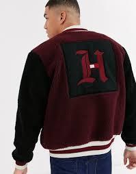 Tommy Hilfiger x Lewis Hamilton Capsule polar fleece bomber jacket in  burgundy | ASOS