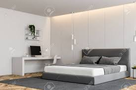 modern bedroom with white walls