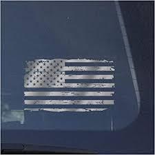 Amazon Com American Flag Clear Vinyl Decal Sticker For Window Distressed Us Flag Sign Art Print Design Metallic Silver Automotive