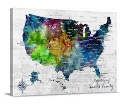 Amazon Com Watercolor Us Map Push Pin Wall Art Canvas Print Personalized Usa Map Adventures Wall Art Canvas Print Custom America Map Flag Travel Map Canvas Print Handmade