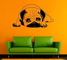 Pug Dog Vinyl Decal Pug Wall Sticker Pet Vinyl Decals Wall Etsy