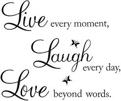Amazon Com Removable Vinyl Decal Live Every Moment Laugh Every Day Love Beyond Words Wall Quote Live02 Kitchen Dining