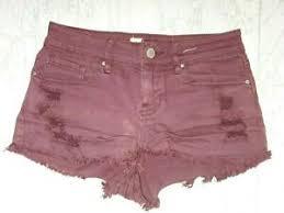 women burgundy denim shorts low rise