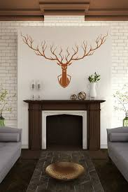 Wall Decal Mounted Deer Silhouette Elegant Antlers Hunting Trophy Fireplace Mantle 32 Colors 6 Sizes Walltat Com Art Without Boundaries