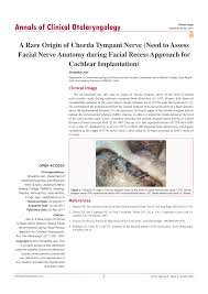 PDF) A Rare Origin of Chorda Tympani Nerve (Need to Assess Facial Nerve  Anatomy during Facial Recess Approach for Cochlear Implantation)