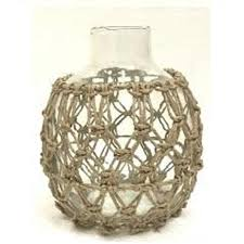 dev glass vase w rope detail small
