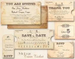 Ticket Wedding Invitation Vintage Train Ticket Wedding Invitation