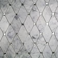 diamond shape marble mosaic backsplash