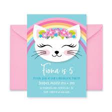 Cat Rainbow Birthday Party Invitation Kitten Cat Birthday Girl