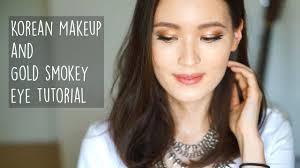 korean makeup and gold smokey eye